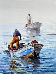 Two Fishing Boats With Their Fishermen, Lines Taut From The Early Morning's Hau. - Two Fishing Boats With Their Fishermen, Lines Taut From The Early Morning's Haul. Used Fishing Boats, Aluminum Fishing Boats, Boat Drawing Simple, Fishing Boat Accessories, Boat Restoration, Boat Art, Boat Painting, Boat Design, Landscape Paintings