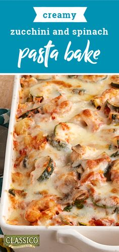 Creamy Zucchini and Spinach Pasta Bake – Enjoy Italian flavor and fare at home with this creamy, veggie-filled pasta casserole! You'll really like the taste of this spinach pasta bake and how easy it is to make during busy weeknights. Pasta Casserole, Casserole Dishes, Casserole Recipes, Pasta Recipes, Cooking Recipes, Kraft Recipes, Zucchini Casserole, Hamburger Casserole, Recipe Pasta