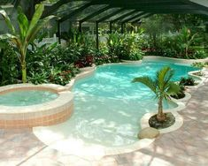 Small beach entry pool designs indoor pool ideas pictures indoor swimming pool ideas for your home . Pool Spa, Tropical Pool And Spa, Beach Entry Pool, Backyard Beach, Beach Pool, Backyard Ideas, Backyard Landscaping, Backyard Patio, Landscaping Ideas