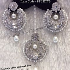 """Back in stock Punjabi Traditional """"Silver Pearl Tikka & Earring Set""""(Next To Real) Item Code - PTJ For Price Please Inbox. Indian Jewelry Earrings, Indian Jewelry Sets, Jewelry Design Earrings, Indian Wedding Jewelry, Bridal Jewelry, Tikka Jewelry, Jewelry Accessories, Silver Bar Necklace, Silver Jewelry"""