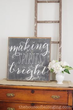 Making Spirits Bright framed sign by TheHouseofBelonging on Etsy, $100.00