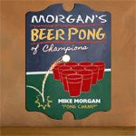 Beer Pong...it's the drinking game of champions and college students every where! There's no better way to immortalize your favorite pong champ than with this Vintage Personalized Beer Pong Champion Pub Sign.
