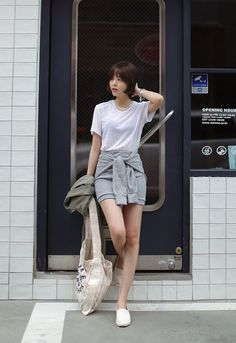 loose white tee + faux tied-sweater bandage skirt + white flats