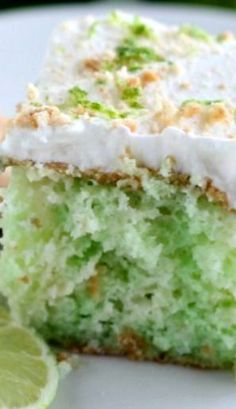 Key Lime Poke Cake Recipe ~ Moist, fluffy key lime cake with a lightly-sweetened whipped cream, topped with lime zest and graham cracker crumbs. This delicious citrus-inspired cake is like a sweet taste of summer!