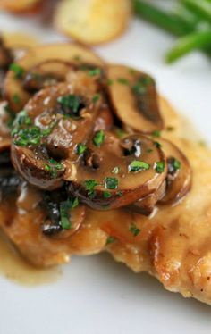 Chicken Marsala with Mushroom Recipe ~ A chicken marsala recipe loaded with sweet and savory flavors. Tender pieces of chicken and mushroom simmered in a marsala wine sauce create a wholesome and delicious meal!