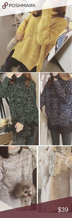 """Almost gone 🎄Starlight Turtle neck slit sweater turtle neck sweaterBoutique Material: acrylic, length: 22.5-26.5 One size bust: 44"""". NWOT Sweaters"""