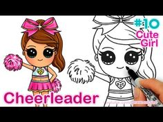 How to Draw Chibi Cheerleader step by step Cute Girl - YouTube