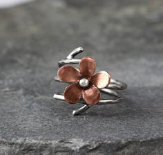 Flower Double wrap adjustable ring, copper flower ring, Apple blossom, Ready to Ship, Spring Jewelry, Gifts unfer 50, gifts for her