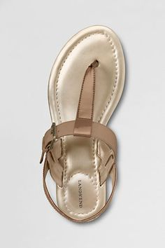 """A """"multi-talented"""" sandal. Works nicely with everything from skirts in the city to shorts at the shore. Lands' End Capri T-strap Sandals."""