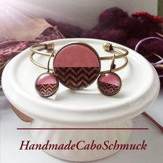 Cabochon Schmuckset Armreif/Armband 25mm und Ohrhänger 12mm Bronze Geometrisch pink braun