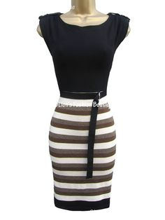 KAREN MILLEN RRP £125 STRIPE KNIT EVENING COCKTAIL PARTY BODYCON BANDAGE DRESS