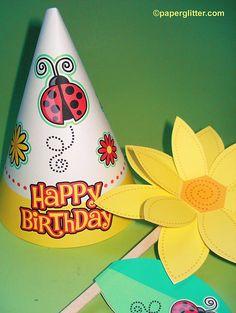 Free Printable, Party Printable, Kawaii, Paper Crafts, Kids Crafts, Stationery, Printable: FREE Ladybug Birthday Hat