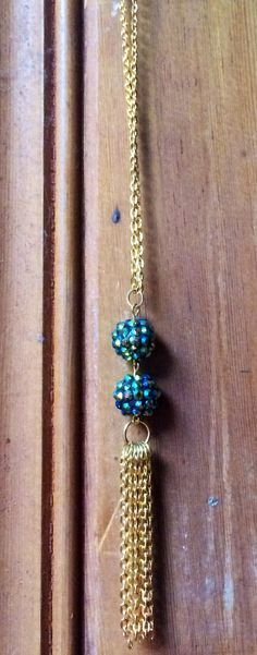 Gorgeous Green Pave Beads with Gold Chain Tassel Statement Necklace; Jewelry; Trending Items; Gifts