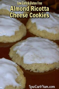 Delicious almond ricotta cheese cookies with a sugar free almond paste on top. Perfect gluten free cookies for the holidays or just a yummy keto snack!