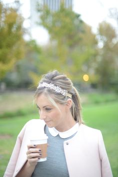 embellished headband<3 and Peter Pan collar(: