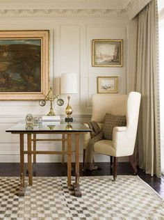"""Mrs Howard (City Apartment) creams & taupe with gold - neutrals can be a little trickier to pull off than bold colors.  So much of getting it right has to do with textures and layering--and choosing great accessories.  If done right, you see a really beautiful room as a whole instead of one big """"wow"""" factor."""