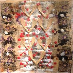 Nino Bellantonio. 'One.' Encaustic Collage with mixed media on wood. 20cm x 20cm; 23cm x 23cm in platform frame) SOLD