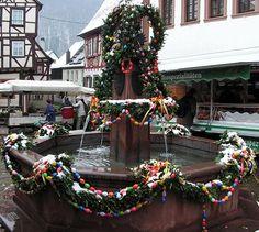 Easter Fountain, Osterbrunnen, Neckargemund Marktplatz, Germany