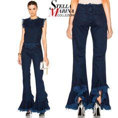 2017 European Style Women Navy Blue Denim Pants Bell Bottoms Ripped Fringes Elastic Waist Flare Long Trumpet Jeans Pants 2014