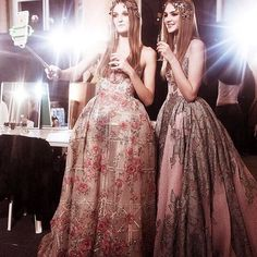 Backstage at Zuhair Murad spring/summer 2016 haute couture fashion show. A selfie stick can't even take away from these glorious outfits http://www.londonfittingrooms.com/le-boudoir/fashion-instagram-roundup-june-2016
