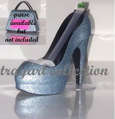 Blue sparkle High Heel Stiletto Platform Shoe TAPE DISPENSER Office Supplies - trayart collection. $25.00, via Etsy.
