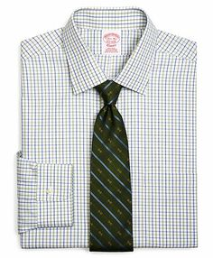 Supima� Cotton Non-Iron Traditional Fit Spread Collar Broadcloth Alternating Triple Check Dress Shirt - Brooks Brothers