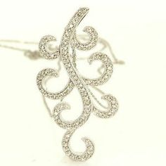 Estate 14 Karat White Gold Diamond Cocktail Pendant Necklace Fine Jewelry Used $750