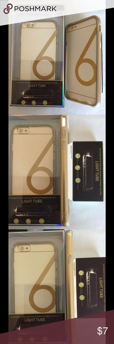 iPhone 6 Light Tube Silicone Case Gray or Gold Light Tube cases protect your phone & let notifications light up your phone (flash) so you know you have a message,call or other notification when on silent mode. Instructions on box. The silicone is clear so you will still be able to see the iphones 📲 Apple 🍎 &color on the backside. The sides are colored to match iPhone production colors.  These cases are for the iPhone 6. The 6s is the same length and width but a tiny bit deeper (.28 inches…