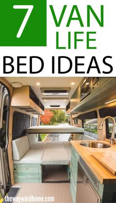 Van life looks great, but the campervan conversion itself can be overwhelming. Where do I start? What do I do with my van build? We have compiled a list of 7 campervan bed designs to help jump-start your van conversion! The van bed is a great place to start your conversion, but with so many options it can be difficult to decide on what type of bed. We have you covered listing the pros and cons of several types. You'll be enjoying that van life in no time! #thewaywardhome #vanlife #campervanbedde Van Conversion Layout, Diy Van Conversions, Van Conversion Interior, Camper Van Conversion Diy, Van Interior, Van Conversion Bed Ideas, Van Conversion With Bathroom, Campervan Conversions Layout, Van Conversion Kitchen