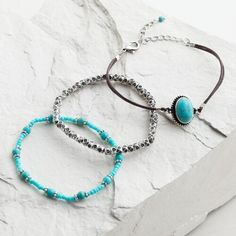 Silver and Turquoise Tribal Bracelets, Set of 3 | World Market