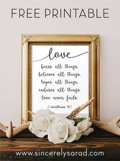 Wedding Gifts For Parrents 1 Corinthians FREE Printable - perfect wedding gift! - Love Never Fails - Free Printable! Wedding Quotes To A Friend, Wedding Gifts For Friends, Free Wedding, Diy Wedding, Trendy Wedding, Perfect Wedding, Wedding Ideas, Wedding Reception, Reception Ideas