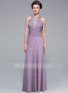 [US$ 139.99] A-Line/Princess Scoop Neck Floor-Length Chiffon Mother of the Bride Dress With Ruffle Beading Cascading Ruffles