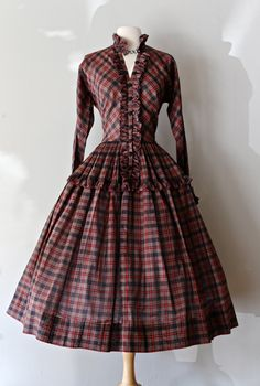 Rare 1950s Claire McCardell Dress ~ Vintage 50s Plaid Dress With Full Skirt ~ Vintage Claire McCardell Dress by xtabayvintage on Etsy