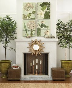 How to decorate with Ballard Design:  Favorite Fillers For a Cool Summer Fireplace