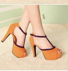 Sexy Prinzessin Stil Hoch Heel Pumps plateau-pumps Orange US$ 12.16 (€ 9,24)