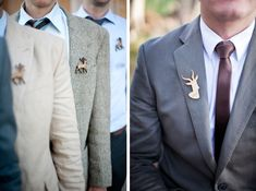 25 Unique Ideas for Groom's Boutonnieres - love the stags, perfect for an english country wedding