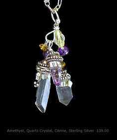 Amethyst, Quartz Crystals, Citrine and Sterling Silver Pendant One of a Kind and handmade by A. Denise Rollings-Martin  www.lilygirlart.com or on Etsy http://www.etsy.com/listing/157232351/amethyst-quartz-crystals-citrine-and   $139.00