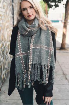 Riley Plaid Blanket Scarf - $24