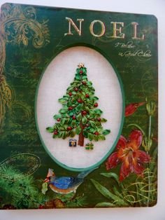 Silk Ribbon Embroidery Decorated Christmas Tree in Christmas Frame Green & Red by ItsSewPrettyByJanet on Etsy