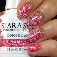 Kiara Sky Glitter Gel Polish - Verboten - New Ideas Kiara Sky Gel Polish, Glitter Gel Polish, Holographic Nail Polish, Pink Nail Polish, Nail Polishes, Gel Nail, Manicure, Hot Pink Nails, Pink Nail Art