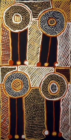 Parmajini Jean Baptiste Apuatimi  The title of the work is Parmajini meaning pandanus armband with feathers, they are used at a Pukumani ceremony when someone has passed away, the Tiwi people paint their faces with ochre and wear the traditional armbands.