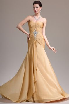 osell wholesale dropship Chiffon Pleated Pearl Sweetheart Sleeveless Court Train A Line Evening Prom Dress $84.13