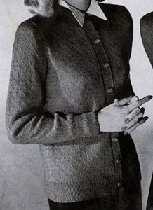 Cardigan #5221 knit pattern from Jack Frost Sweaters, Volume 52, in 1951.