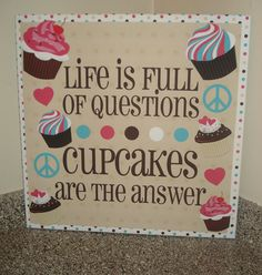 "Large 22"" x 22"" Cute Cupcake Canvas Heart, Peace Quote ""Cupcakes are the answer"" Painted Words Sign Gift Girl Decor Wall Art Picture"