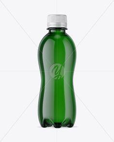 330ml PET Green Bottle W/ Shrink Sleeve Mockup