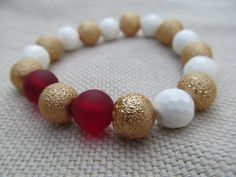 White faceted shell gold bumpy glass pearl by littlecrowshop, $17.00