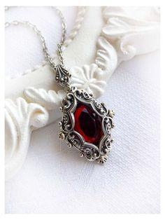 Red Necklace, Moon Necklace, Dainty Necklace, Simple Necklace, Crystal Necklace, Pendant Necklace, Ruby Jewelry, Gothic Jewelry, Fine Jewelry