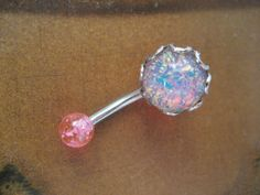 Pink Fire Opal Belly Button Jewelry Ring Stud- Navel Piercing Stone Bar Barbell