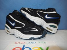 82c0a6227b0b0 Vtg OG 1997 Nike Air Pure Uptempo 830016-011 Black Royal Blue size 10 Men s