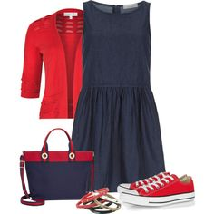Dorothy Perkins Petite denim smock dress by dgia on Polyvore featuring Dorothy Perkins, Converse and Tommy Hilfiger